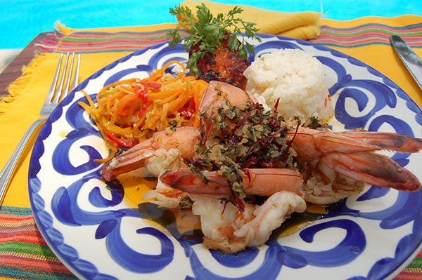 grilled shrimp with rice / Camarones a la plancha con arroz