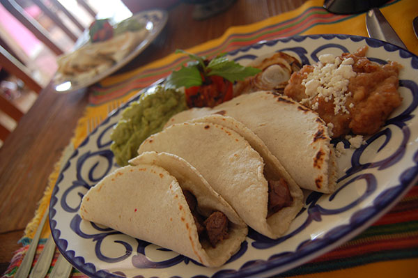 Beef Tacos, Guacamole and fried beans