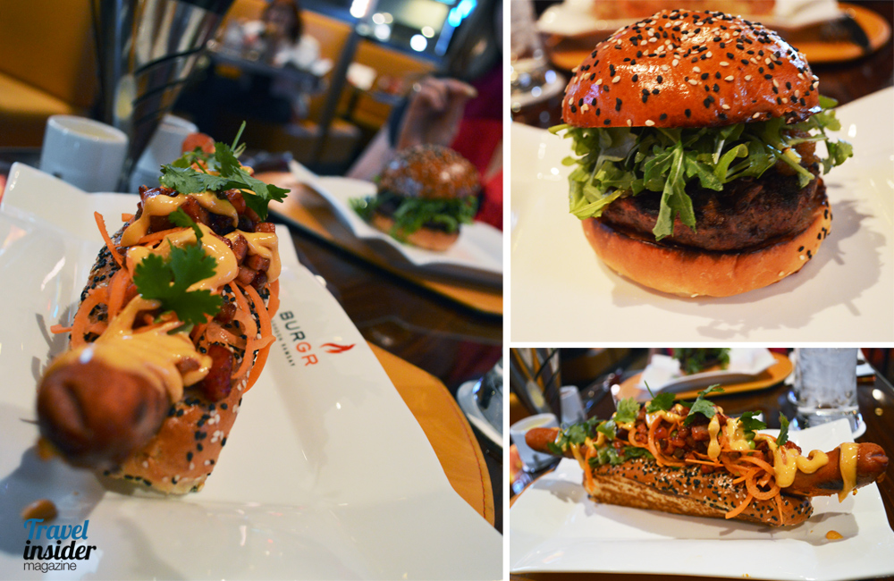 Hot dog and burger at Gordon Ramsay restaurant
