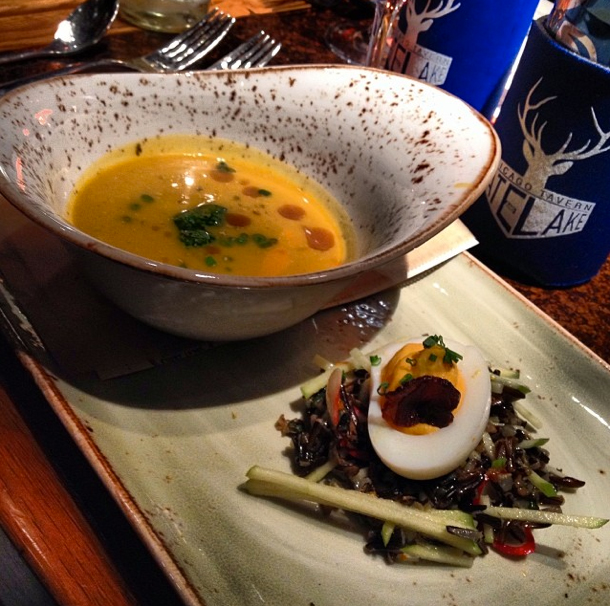 Butternut squash soup and deviled egg