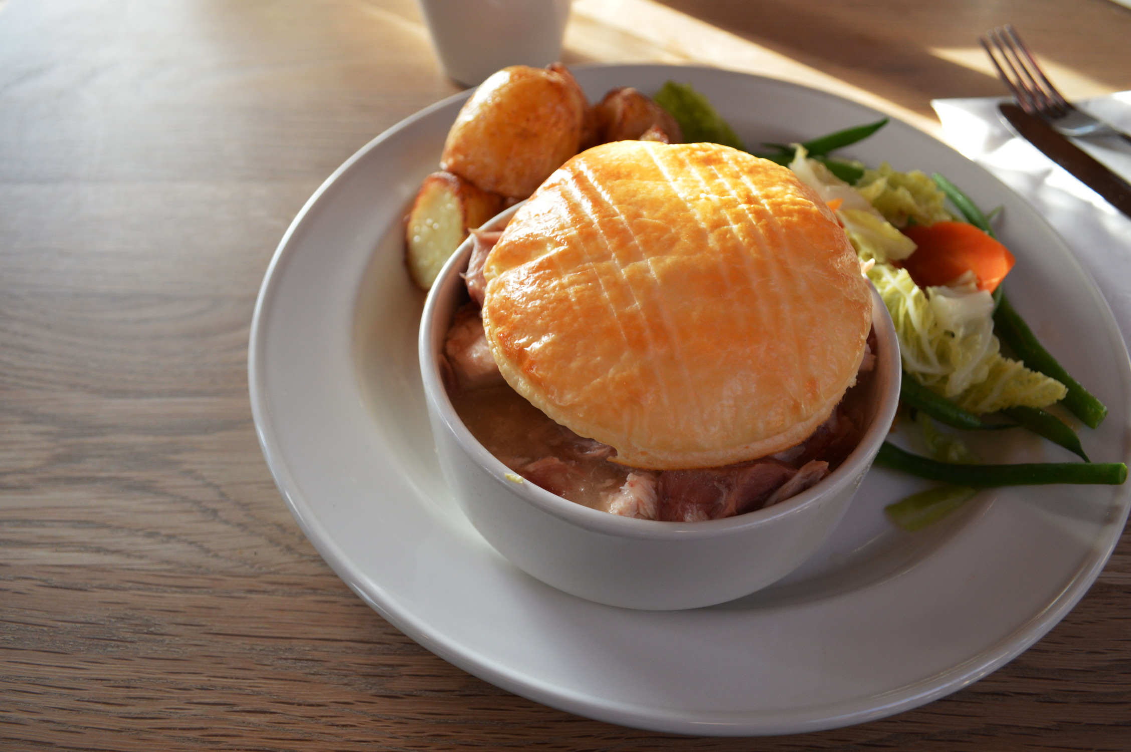 Chicken Pie at the Westonbirt, The National Arboretum restaurant and cafe- Creamy Cotswold Chicken & Ham Hock pie with Roasted New Potatoes and Sesonal Vegetable