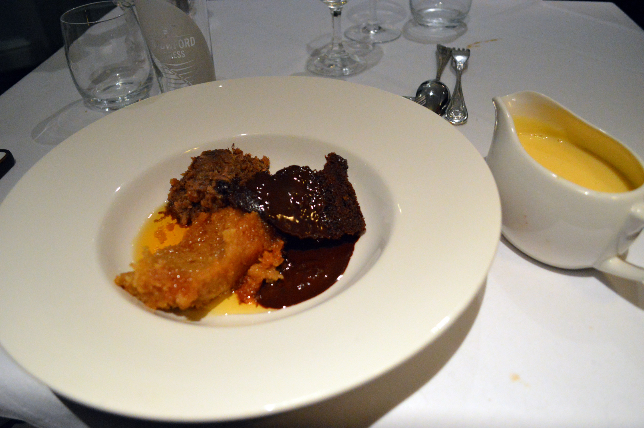 Trying English puddings at Three Ways House Hotel