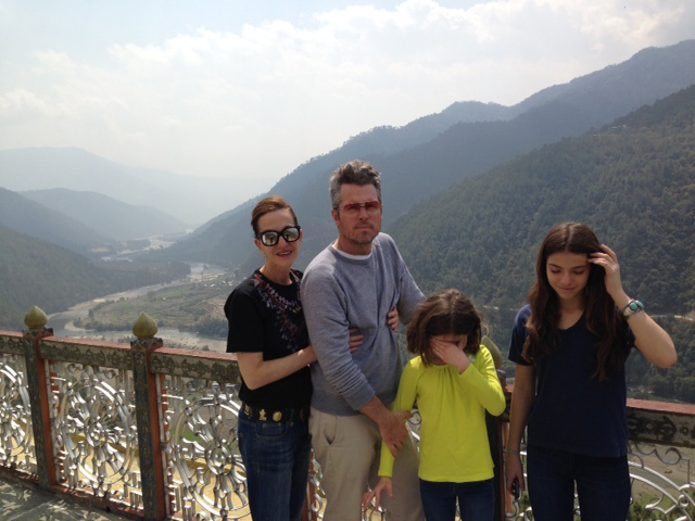 Cynthia Rowley and family atop a royal temple