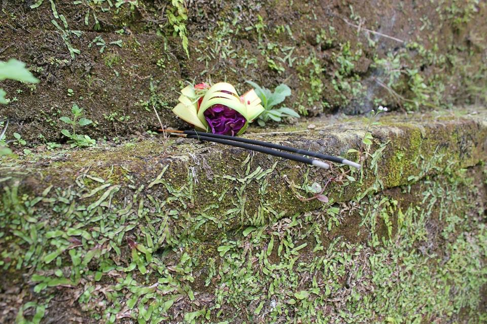 An offering of flowers and insense, placed at this temple by my guide, to appease the spirits