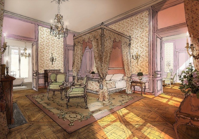 Bedroom rendering at Le Grand Contrôle
