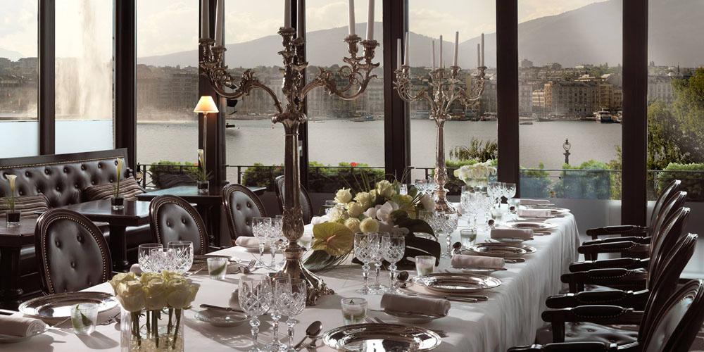 Restaurant Windows at Hotel d'Angleterre in Geneva Switzerland