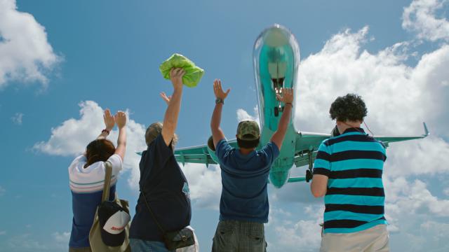 Airplane lands at St. Maarten Airport
